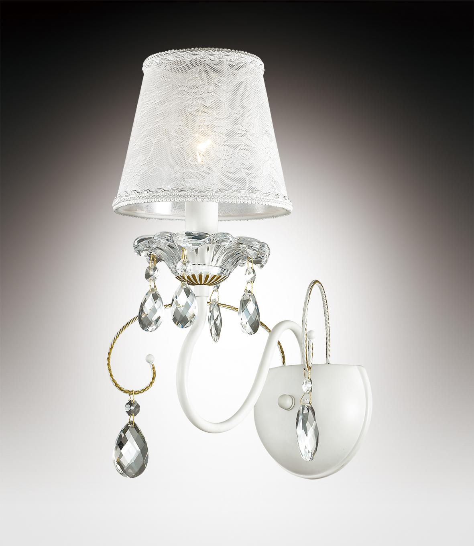Бра Odeon Light Talsano 2922/1W, 1xE14x40W, белый, золото, прозрачный, металл, стекло, текстиль, хрусталь - фото 1