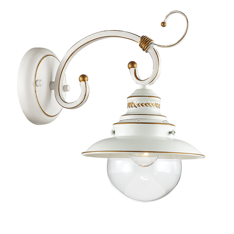 Бра Odeon Light Country Sandrina 3248/1W, 1xE27x60W, белый, белый с золотой патиной с прозрачным, металл, металл со стеклом