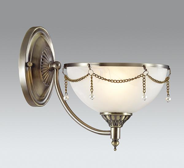 Бра Odeon Light Pascalla 3278/1W, 1xE27x60W, бронза, белый, металл, стекло, искусственный жемчуг - фото 1