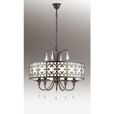 Подвесная люстра Odeon Light Parola 2896/5, 5xE14x40W, коричневый, белый, прозрачный, металл, пластик, хрусталь