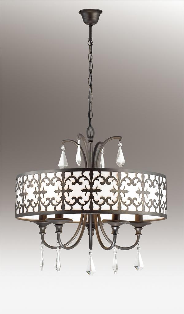 Подвесная люстра Odeon Light Parola 2896/5, 5xE14x40W, коричневый, белый, прозрачный, металл, пластик, хрусталь - фото 1