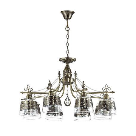 Подвесная люстра Odeon Light Sansa 3127/8, 8xE14x40W, бронза, прозрачный, металл, стекло, хрусталь