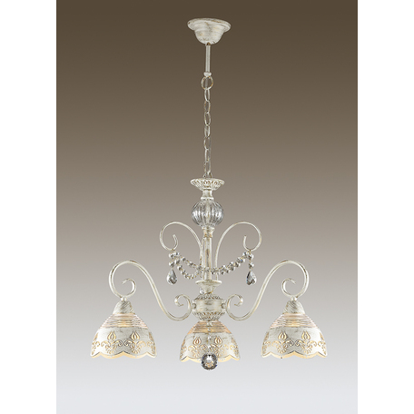 Подвесная люстра Odeon Light Milagros 3208/3, 3xE14x40W, белый с золотой патиной, прозрачный, металл, стекло, хрусталь