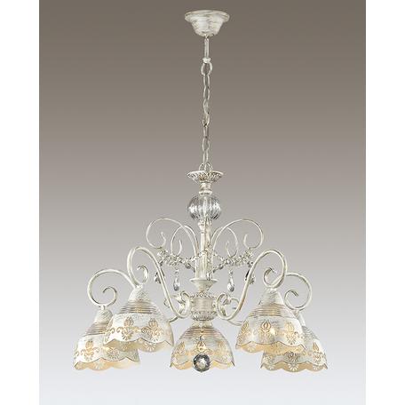 Подвесная люстра Odeon Light Milagros 3208/5, 5xE14x40W, белый с золотой патиной, прозрачный, металл, стекло, хрусталь