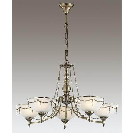 Подвесная люстра Odeon Light Pascalla 3278/5, 5xE27x60W, бронза, белый, металл, стекло, искусственный жемчуг