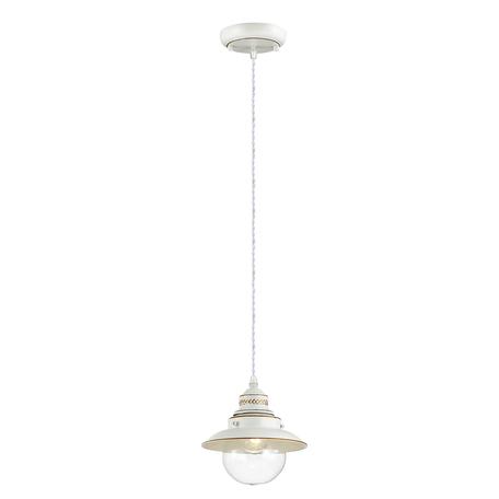 Подвесной светильник Odeon Light Country Sandrina 3248/1, 1xE27x60W, белый, белый с золотой патиной с прозрачным, металл, металл со стеклом