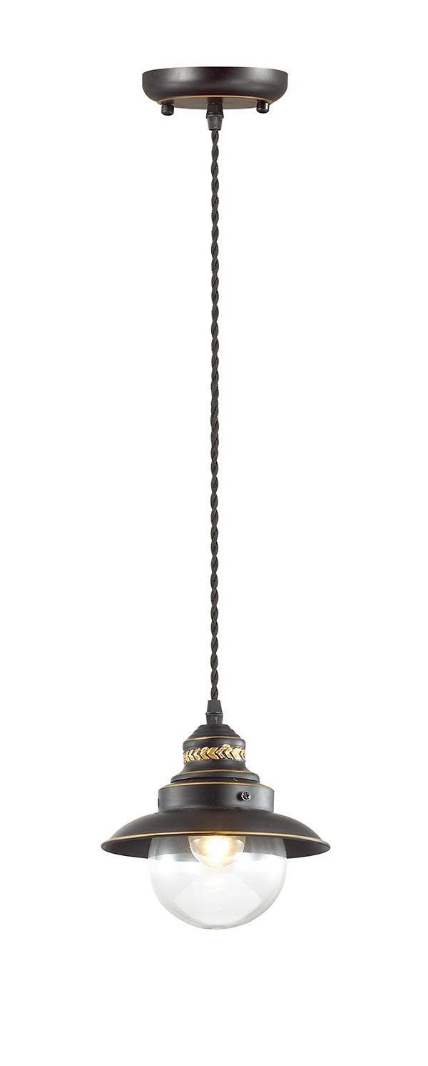 Подвесной светильник Odeon Light Country Sandrina 3249/1, 1xE27x60W, коричневый, коричневый с прозрачным, металл, металл со стеклом - фото 1