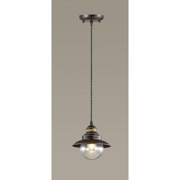 Подвесной светильник Odeon Light Country Sandrina 3249/1, 1xE27x60W, коричневый, коричневый с прозрачным, металл, металл со стеклом - миниатюра 2