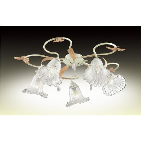 Потолочная люстра Odeon Light Fera 2895/5C, 5xE14x60W, бежевый, оранжевый, прозрачный, керамика, металл, стекло