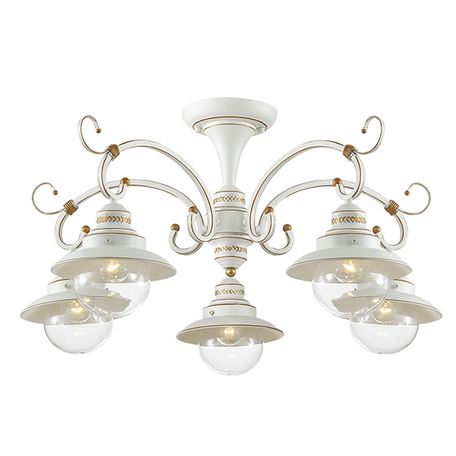 Потолочная люстра Odeon Light Sandrina 3248/5C, 5xE27x60W, белый, прозрачный, металл, металл со стеклом