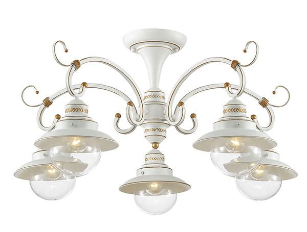 Потолочная люстра Odeon Light Country Sandrina 3248/5C, 5xE27x60W, белый, белый с золотой патиной с прозрачным, металл, металл со стеклом - фото 1