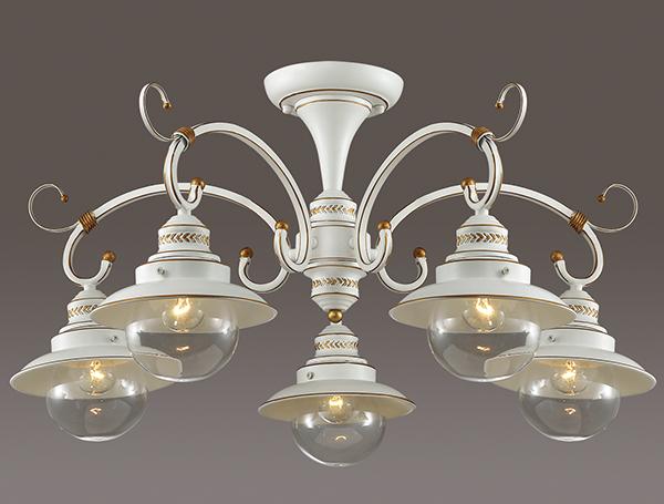 Потолочная люстра Odeon Light Country Sandrina 3248/5C, 5xE27x60W, белый, белый с золотой патиной с прозрачным, металл, металл со стеклом - фото 2