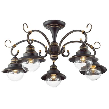 Потолочная люстра Odeon Light Country Sandrina 3249/5C, 5xE27x60W, коричневый, прозрачный, металл, металл со стеклом