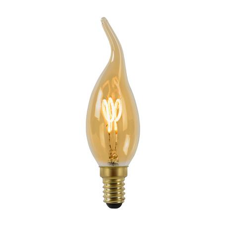 Филаментная светодиодная лампа Lucide 49036/03/62 свеча на ветру E14 3W, 2200K (теплый) 220V, диммируемая, гарантия 30 дней