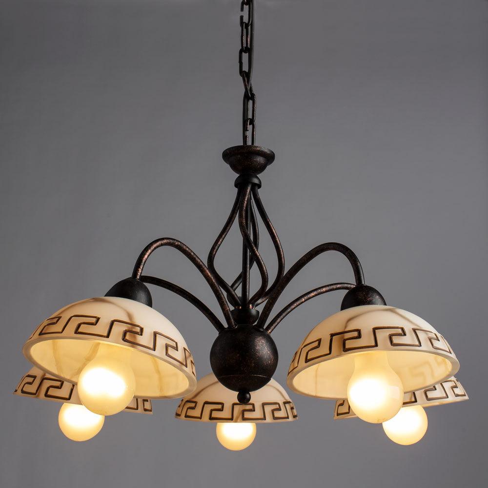 Arte Lamp Rustica A6884LM-5BR, 5xE27x60W, белый, коричневый - фото 2