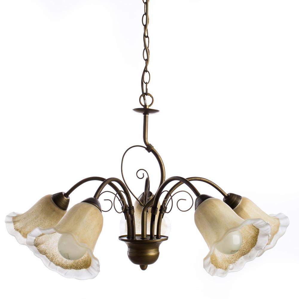 Arte Lamp Mormorio A9361LM-5BR, 5xE27x40W, коричневый, белый, металл, стекло - фото 1