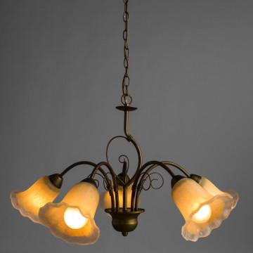 Arte Lamp Mormorio A9361LM-5BR, 5xE27x40W, коричневый, белый, металл, стекло - миниатюра 2