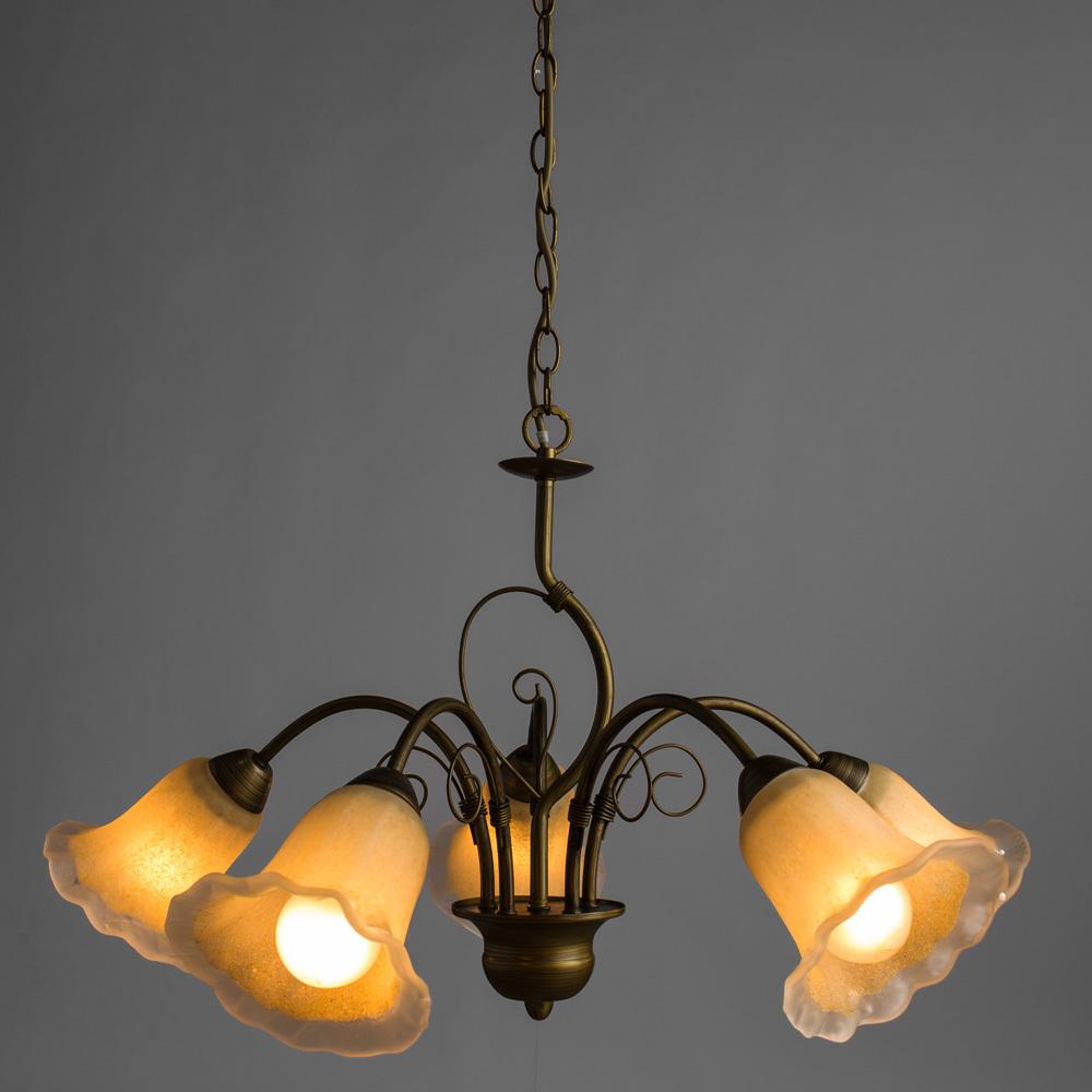 Arte Lamp Mormorio A9361LM-5BR, 5xE27x40W, коричневый, белый, металл, стекло - фото 2