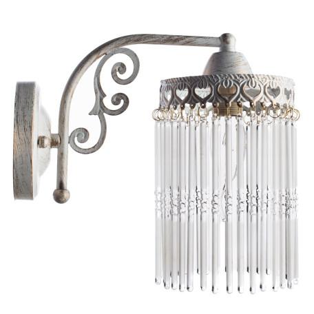 Бра Arte Lamp Torrente A1678AP-1WG, 1xE14x60W, белый с золотой патиной, прозрачный, металл, стекло