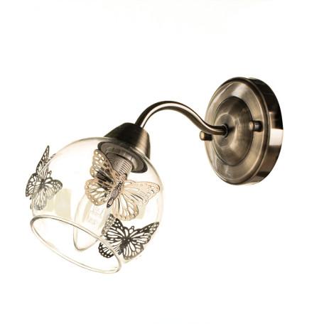 Бра Arte Lamp Alessandra A5004AP-1AB, 1xE14x40W, бронза, прозрачный, металл, стекло