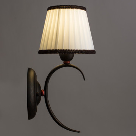 Бра Arte Lamp Irene A5133AP-1BR, 1xE14x40W, коричневый, белый, металл, текстиль - миниатюра 2