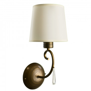 Бра Arte Lamp Carolina A9239AP-1BR, 1xE27x40W, коричневый, белый, прозрачный, металл, текстиль, стекло