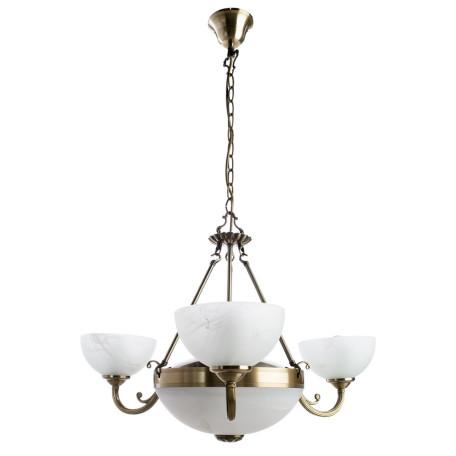 Подвесная люстра Arte Lamp Windsor A3777LM-3-2AB, 3xE14x40W +  2xE27x40W, бронза, белый, металл, стекло