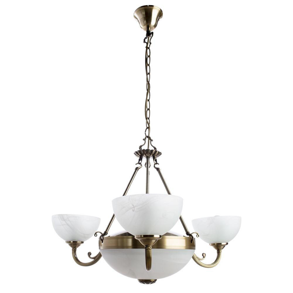Подвесная люстра Arte Lamp Windsor A3777LM-3-2AB, 3xE14x40W + 2xE27x40W, бронза, белый, металл, стекло - фото 1