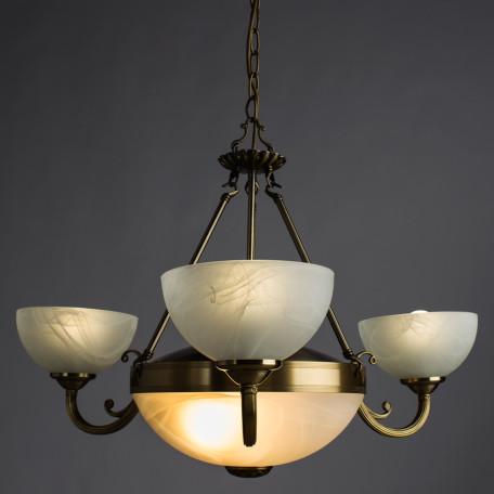 Подвесная люстра Arte Lamp Windsor A3777LM-3-2AB, 3xE14x40W + 2xE27x40W, бронза, белый, металл, стекло - миниатюра 2