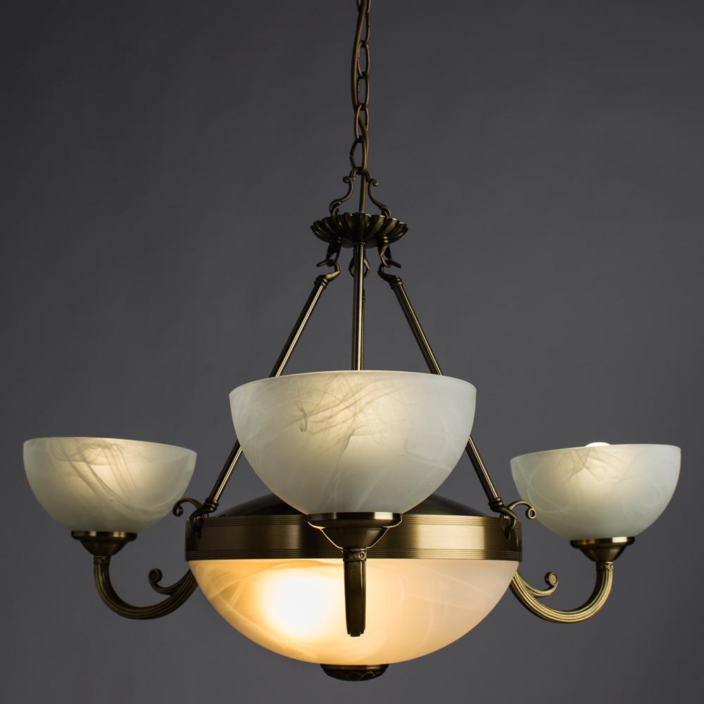Подвесная люстра Arte Lamp Windsor A3777LM-3-2AB, 3xE14x40W + 2xE27x40W, бронза, белый, металл, стекло - фото 2