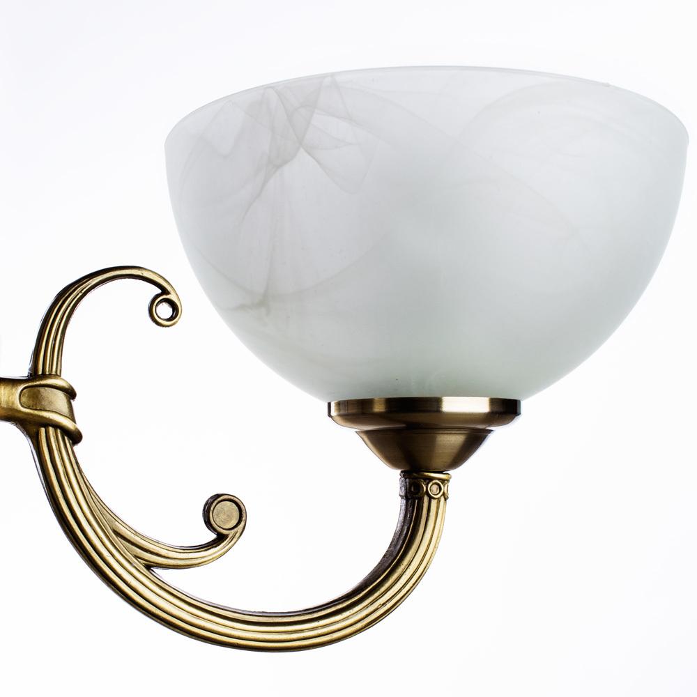 Подвесная люстра Arte Lamp Windsor A3777LM-3-2AB, 3xE14x40W + 2xE27x40W, бронза, белый, металл, стекло - фото 4