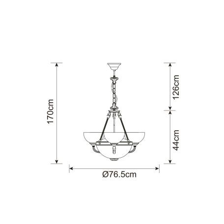 Схема с размерами Arte Lamp A3777LM-3-2AB