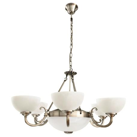 Подвесная люстра Arte Lamp Windsor A3777LM-6-2AB, 6xE14x40W +  2xE27x40W, бронза, белый, металл, стекло