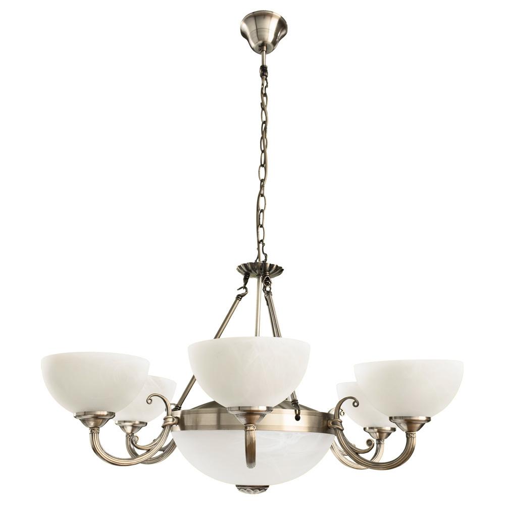 Подвесная люстра Arte Lamp Windsor A3777LM-6-2AB, 6xE14x40W + 2xE27x40W, бронза, белый, металл, стекло - фото 1