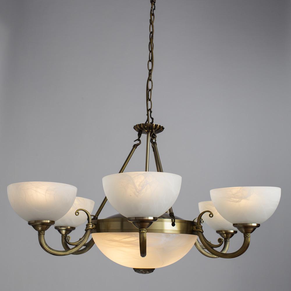 Подвесная люстра Arte Lamp Windsor A3777LM-6-2AB, 6xE14x40W + 2xE27x40W, бронза, белый, металл, стекло - фото 2