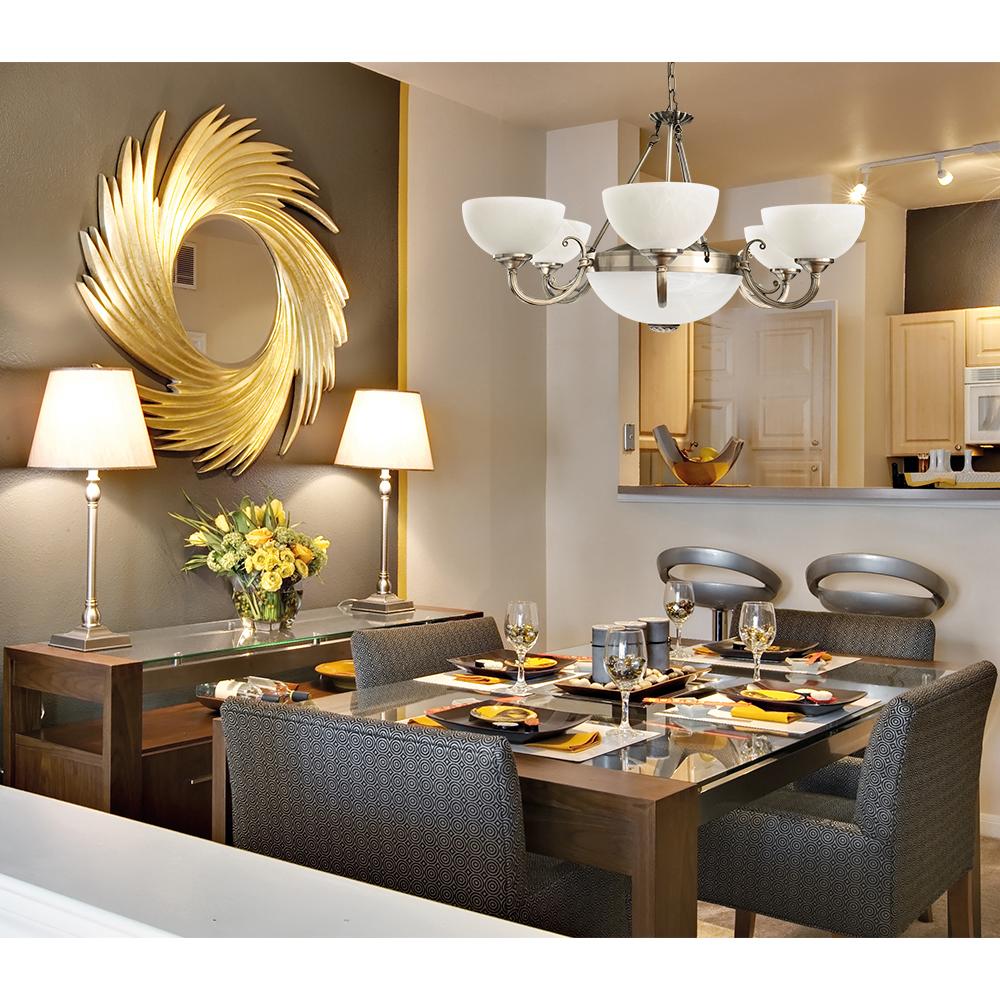 Подвесная люстра Arte Lamp Windsor A3777LM-6-2AB, 6xE14x40W + 2xE27x40W, бронза, белый, металл, стекло - фото 3