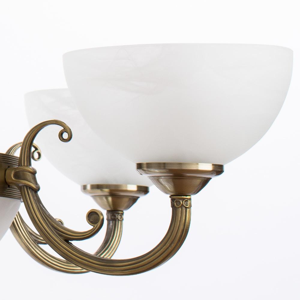 Подвесная люстра Arte Lamp Windsor A3777LM-6-2AB, 6xE14x40W + 2xE27x40W, бронза, белый, металл, стекло - фото 5