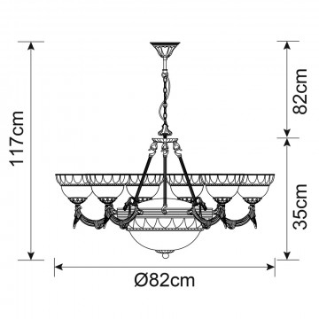 Схема с размерами Arte Lamp A3777LM-6-2AB