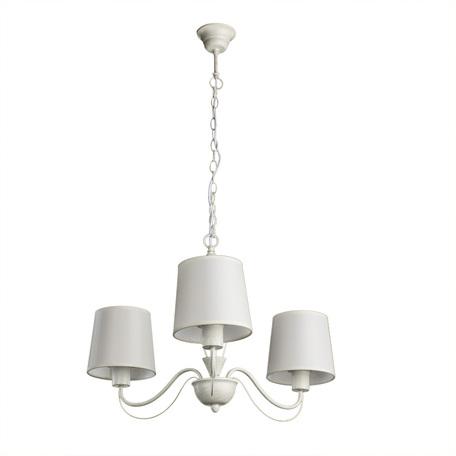 Подвесная люстра Arte Lamp Orlean A9310LM-3WG, 3xE27x40W, белый с золотой патиной, бежевый, металл, текстиль