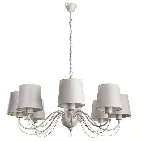 Подвесная люстра Arte Lamp Orlean A9310LM-8WG, 8xE27x40W, белый с золотой патиной, бежевый, металл, текстиль