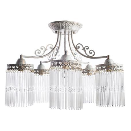 Потолочная люстра Arte Lamp Torrente A1678PL-5WG, 5xE14x60W, белый с золотой патиной, прозрачный, металл, стекло