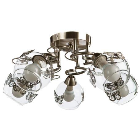 Потолочная люстра Arte Lamp Alessandra A5004PL-5AB, 5xE14x40W, бронза, прозрачный, металл, стекло