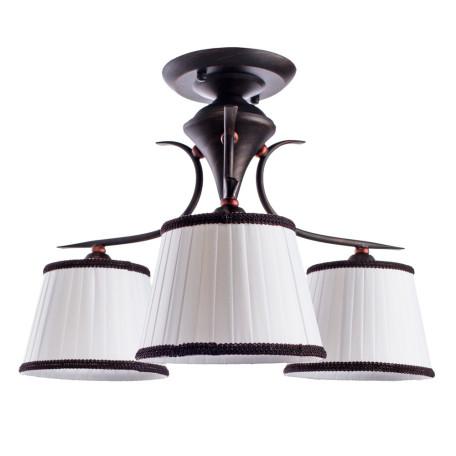 Потолочная люстра Arte Lamp Irene A5133PL-3BR, 3xE14x40W, коричневый, белый, металл, текстиль