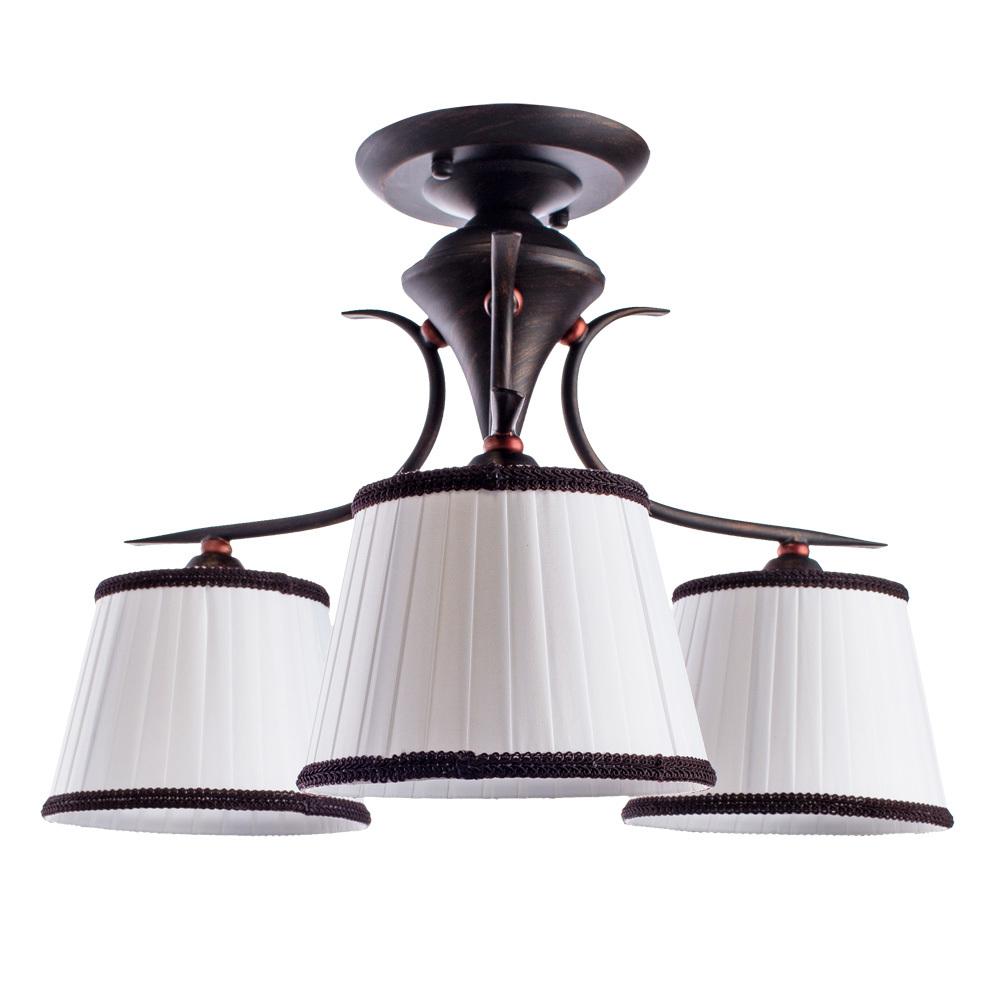 Потолочная люстра Arte Lamp Irene A5133PL-3BR, 3xE14x40W, коричневый, белый, металл, текстиль - фото 1