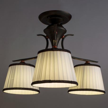 Потолочная люстра Arte Lamp Irene A5133PL-3BR, 3xE14x40W, коричневый, белый, металл, текстиль - миниатюра 2