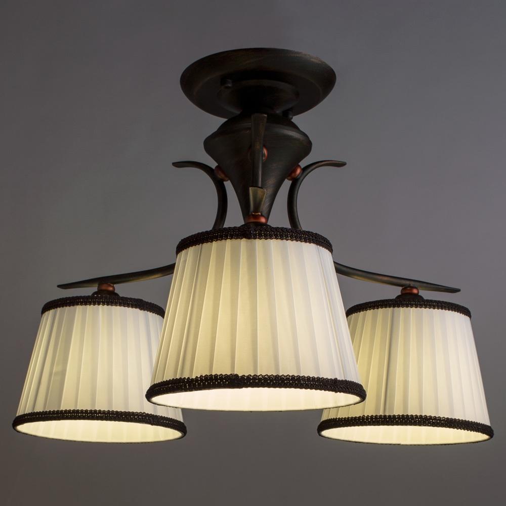 Потолочная люстра Arte Lamp Irene A5133PL-3BR, 3xE14x40W, коричневый, белый, металл, текстиль - фото 2