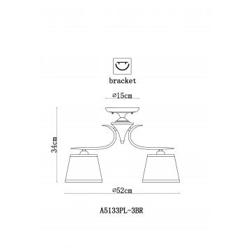 Схема с размерами Arte Lamp A5133PL-3BR