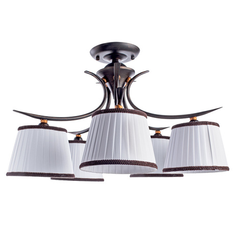 Потолочная люстра Arte Lamp Irene A5133PL-5BR, 5xE14x40W, коричневый, белый, металл, текстиль
