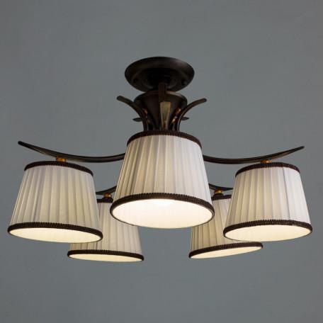 Потолочная люстра Arte Lamp Irene A5133PL-5BR, 5xE14x40W, коричневый, белый, металл, текстиль - миниатюра 2