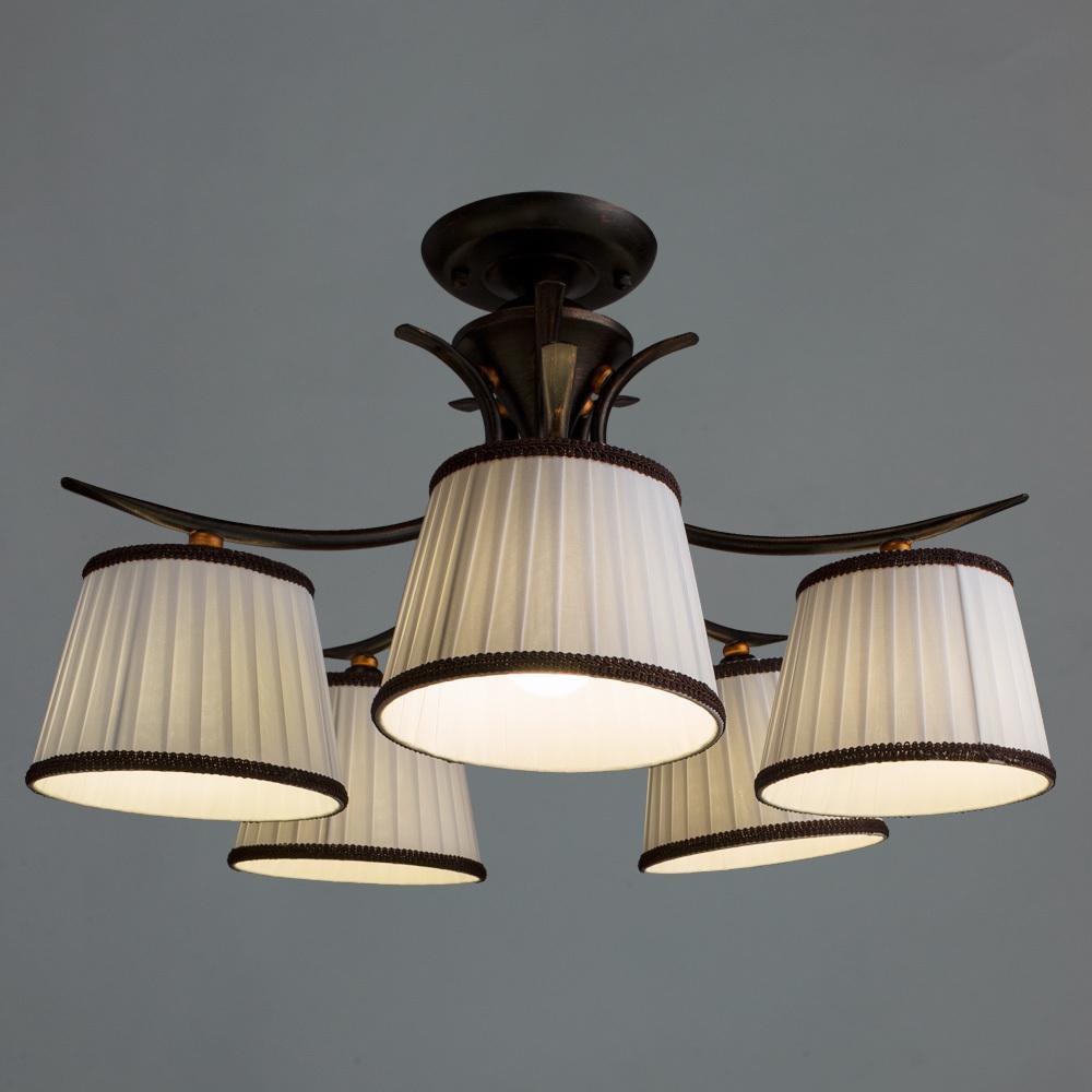 Потолочная люстра Arte Lamp Irene A5133PL-5BR, 5xE14x40W, коричневый, белый, металл, текстиль - фото 2